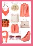 traje de tonos corales