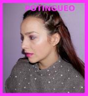 Maquillaje rosa y azul metalico